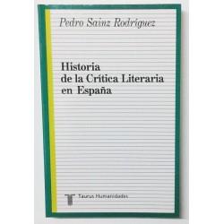 HISTORIA DE LA CRÍTICA LITERARIA EN ESPAÑA